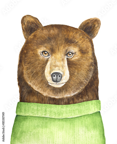 Big brown bear character portrait. Dressed in green knitted sweater, looking at camera. Hand painted watercolour illustration, isolated on white background. Poster, print, holiday, postcard design.  - 185387149