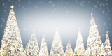 Design Space of Bokeh Christmas Tree Light with Snowing. Happy New Year Concept.