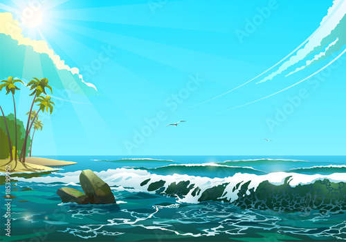 Fotobehang Turkoois Seascape in sunny day, vector illustration of sea shore and waves with bird flying in sunny day.