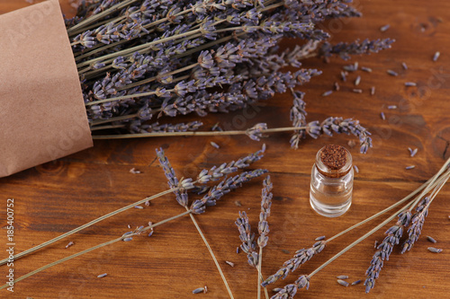 Fotobehang Lavendel Lavender flowers and essential oil