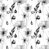 Seamless pattern with Decorative summer flowers,