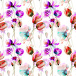 Seamless wallpaper with Stylized flowers - 185404178
