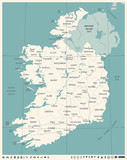 Ireland Map - Vintage Detailed Vector Illustration