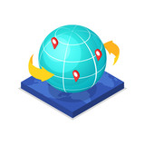 Worldwide route logistics concept with globe and pin pointers isometric 3D icon. Freight shipping and distribution, world delivery transportation vector illustration. - 185431746