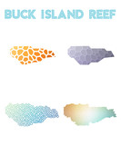 Buck Island Reef polygonal island map. Mosaic style maps collection. Bright abstract tessellation, geometric, low poly, modern design. Buck Island Reef polygonal maps for infographics or presentation. - 185433506