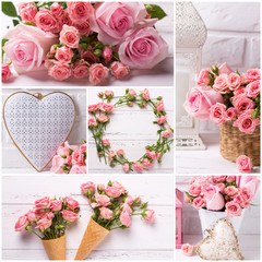 Collage with photos of  tender pink roses flowers and decorative hearts