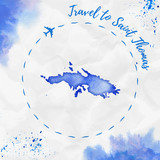 Saint Thomas watercolor island map in blue colors. Travel to Saint Thomas poster with airplane trace and handpainted watercolor Saint Thomas map on crumpled paper. Vector illustration. - 185433789
