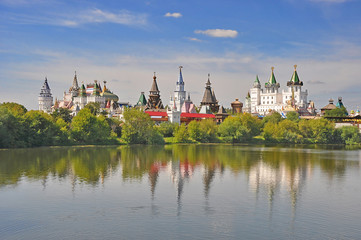 Moscow. The view of the pond and the Kremlin in Izmailovo