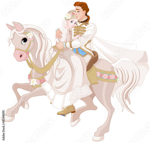 Fotobehang Sprookjeswereld Cinderella and Prince Riding a Horse after wedding
