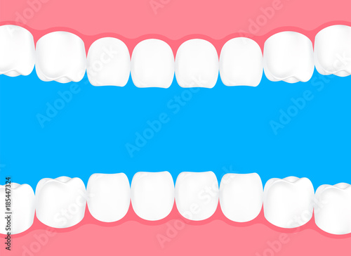Human teeth in mouth. Info-graphic, dental care concept. Illustration isolated on blue background.