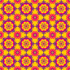 Seamless geometric ethnic  pattern. Fashion mexican, navajo or aztec, native american ornament.  Colored vector design element for frame and border, textile, fabric or paper print. Vector background © anhut