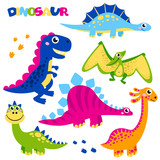 Set of cute vector dinosaurs isolated on white background. Cartoon dinosaurs, monster animal, dino,  prehistoric character. Vector illustration