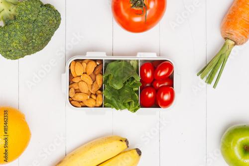 Foto Murales Vegetables. Raw vegetable in set lunch box. Diet concept. Vegetarian