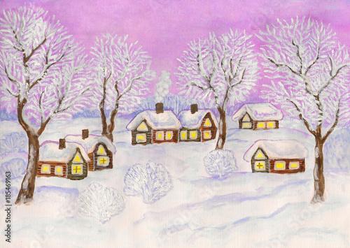 Fotobehang Purper Winter landscape, painting
