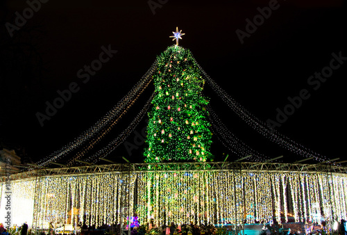 Foto op Plexiglas Kiev Beatiful view of Christmas tree on Sophia Square in Kyiv, Ukraine. Main Kyiv's New Year tree, 2017.