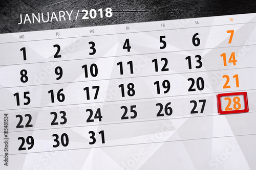 Poster Daily calendar for January 28