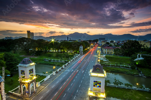 Fotobehang Aubergine scenery of sunset at Ipoh Malaysia. Soft focus,motion blur due to long exposure