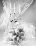 candlestick, silk hat and fabrics of lace in a marriage classic set, black and white photo  - 185497591