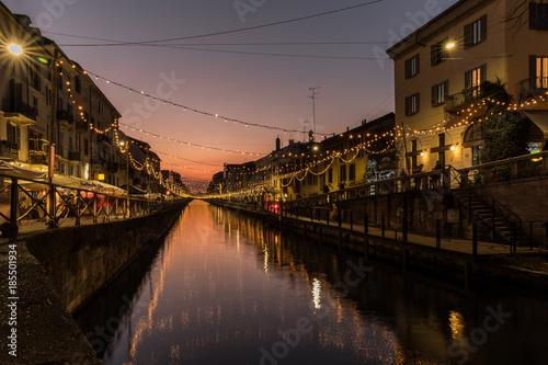 Fotobehang Milan Milano , notturno al Navigli