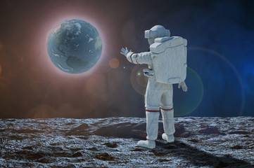 3D Illustration of the astronaut cosmonaut stretched his arm forward