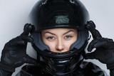 Fototapety woman moto helmet