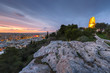 View of Athens and Filopappos monument early in the morning, Greece.