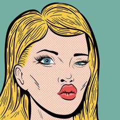 Pop Art Style Blonde Woman's Face