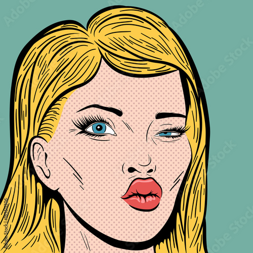 Fotobehang Pop Art Pop Art Style Blonde Woman's Face