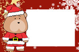 cute teddy bear cartoon xmas frame picture background in vector format very easy to edit