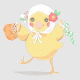 Cute, hand drawn, chicken in shawl with flower wreath and tied bow, keeping the basket with floral bouquet. Beautiful vintage sketchy illustration
