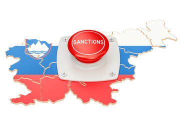 Sanctions button on map of Slovenia, 3D rendering