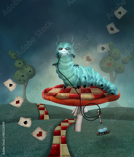 Wonderland series - Caterpillar with hookah in a country landscape - 185526909