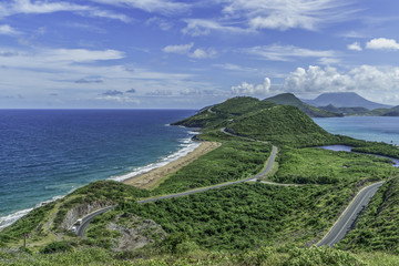 Roads and bays in St Kitts, Eastern Caribbean