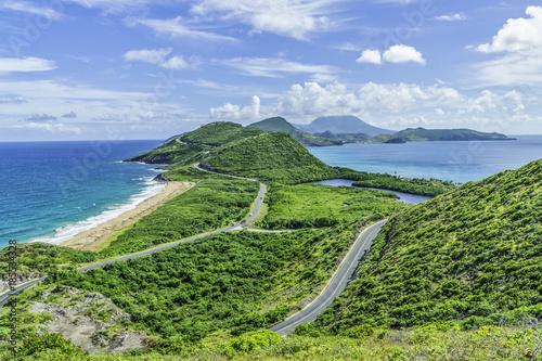 Fotobehang Pistache Roads and bays in St Kitts, Eastern Caribbean