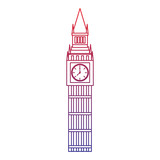 big ben london united kingdom icon image vector illustrationd design  red to blue ombre line © Gstudio Group