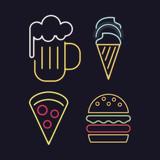 Food icons neon lights icon vector illustration graphic design