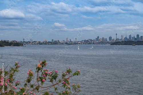 Foto op Plexiglas Sydney Sydney-Skyline diagonal über das Hafenbecken fotografiert