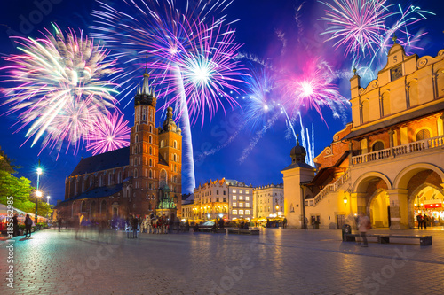 Foto op Plexiglas Krakau New Years firework display in Krakow, Poland