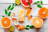 organic cosmetic with citrus on wooden background top view - 185578572
