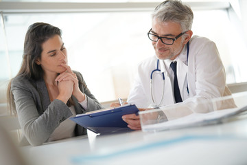 Patient meeting doctor for medical prescription