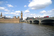 Westminster bridge with red bus, Palace of Westminster and Big Ben
