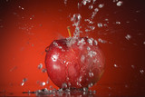 Apple, fruit, splashing water