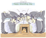 Happy Groundhog day with group of men in cylinder hats and marmot - 185594920