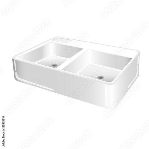 Clean White Kitchen Sink Brass Kitchen Water Tap And Soap Dispenser
