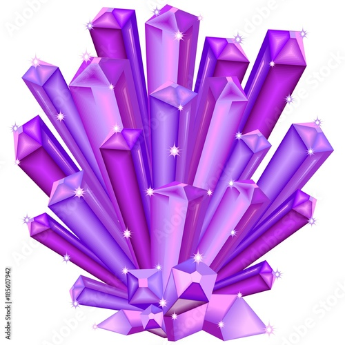 Poster Draw Amethyst Crystal Faceted Purple Gem isolated on white