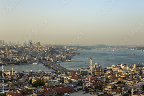 Fototapeta Magnificent istanbul city, historical peninsula , Fatih mosque , Sultan Ahmed mosque , Suleymaniye Mosque , Ortakoy mosque