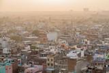 Sunset over Old Delhi, India.