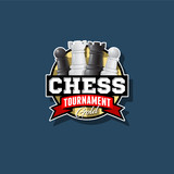 Сhess tournament logo. Chess competition emblem. Сhess and ribbon with letters.