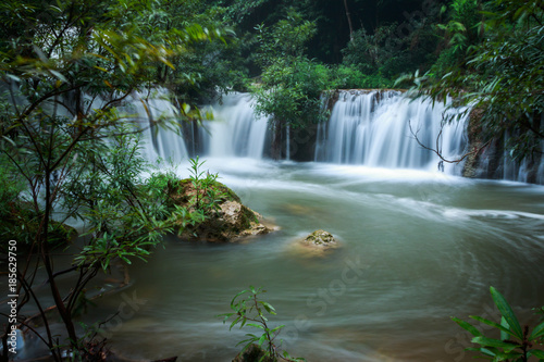 Fotobehang Khaki waterfall in the forest of thailand named tee lor su waterfall