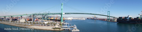 Panorama of freeway suspension bridge and Long Beach port - 185630725